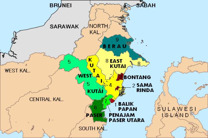 KALTIM PETA EAST KALIMANTAN MAP